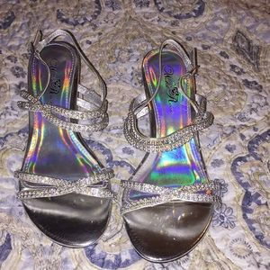 Beautiful silver and rhinestone heels